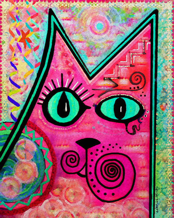 Moon Stumpp Print featuring the painting House Of Cats Series - Catty by Moon Stumpp