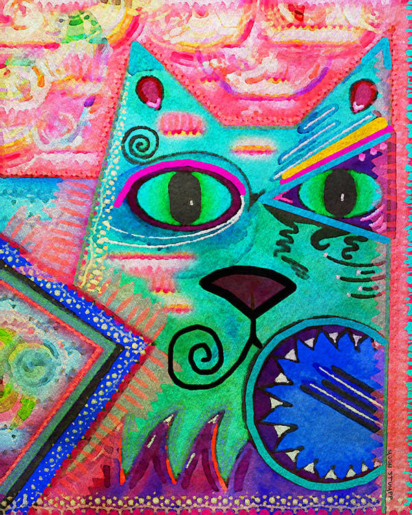Moon Stumpp Art Print featuring the painting House Of Cats Series - Spike by Moon Stumpp