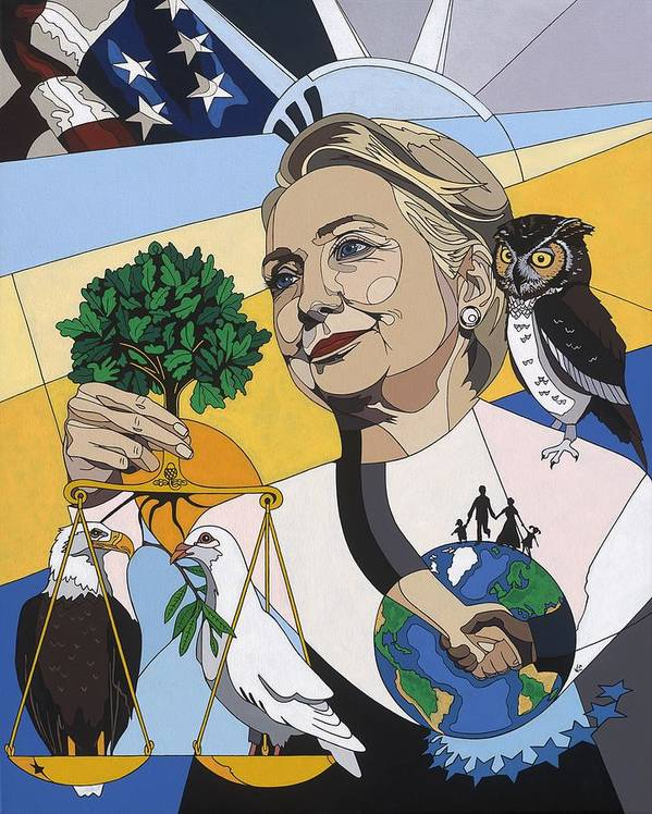 Hillary Clinton Painting Art Print featuring the painting In Honor Of Hillary Clinton by Konni Jensen