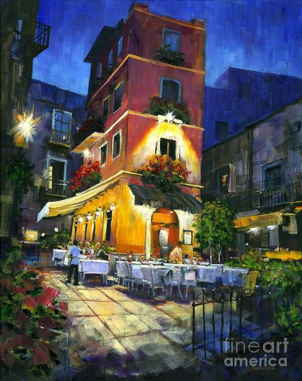Rome Italy Landscape Art Print featuring the painting Italian Nights by Michael Swanson