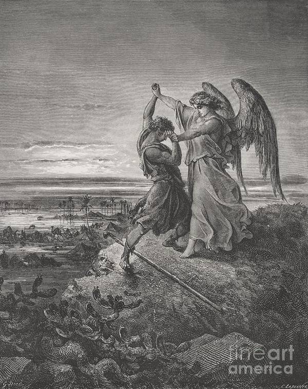Wrestle Art Print featuring the painting Jacob Wrestling With The Angel by Gustave Dore