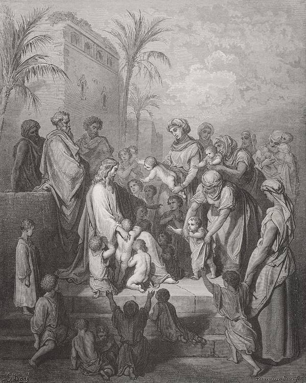 Child Art Print featuring the painting Jesus Blessing The Children by Gustave Dore