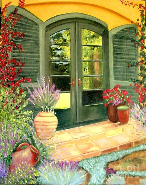 Shutters Art Print featuring the painting Jill's Patio by Laurie Morgan