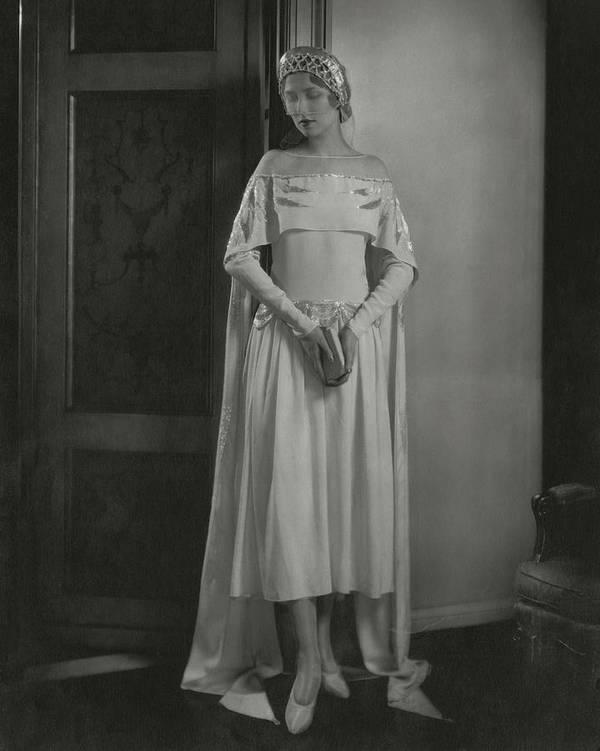 Joan Clement Wearing A Lanvin Wedding Dress Art Print by Edward Steichen
