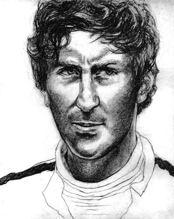Portrait Of Formula 1 Car Racing Champion Print featuring the drawing Jochen Rindt by Diane Fine