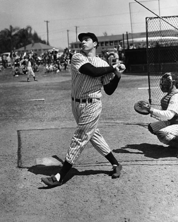 Joe Print featuring the photograph Joe Dimaggio Hits A Belter by Gianfranco Weiss