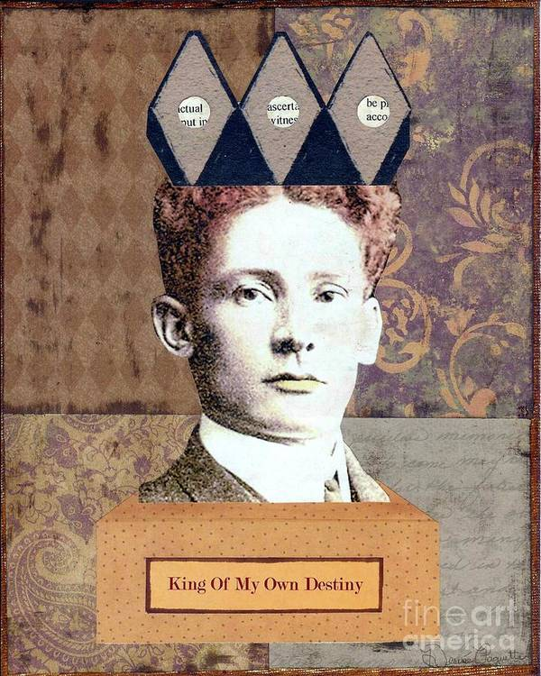 Brown Art Print featuring the mixed media King Of My Own Destiny by Desiree Paquette