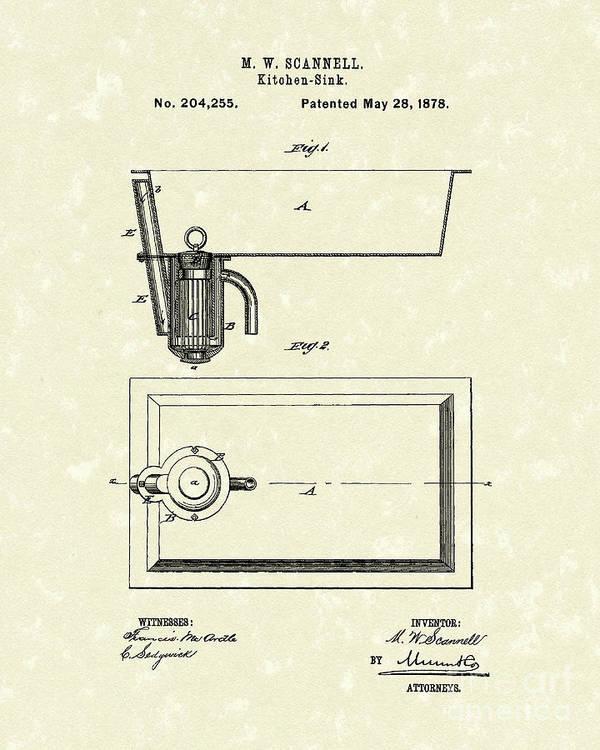 Kitchen Sink 1878 Patent Art Art Print by Prior Art Design
