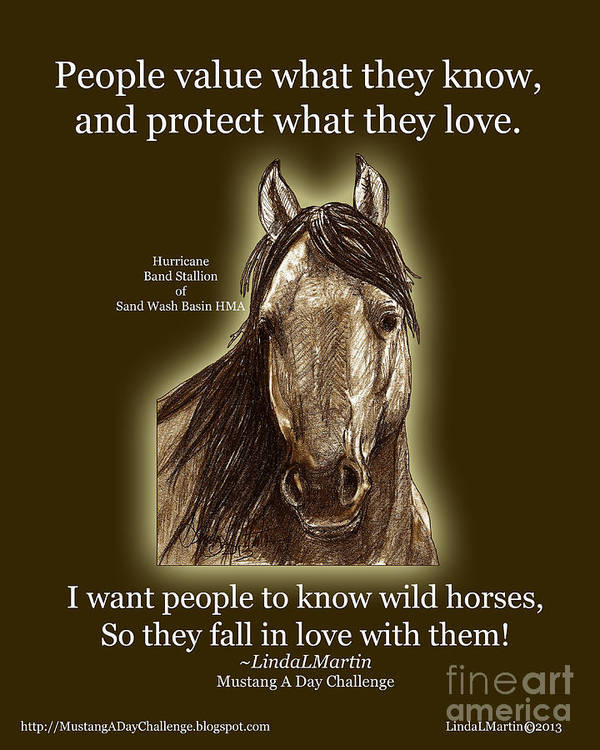 Wild Horse Art Print featuring the painting Know Wild Horses Poster-huricane by Linda L Martin