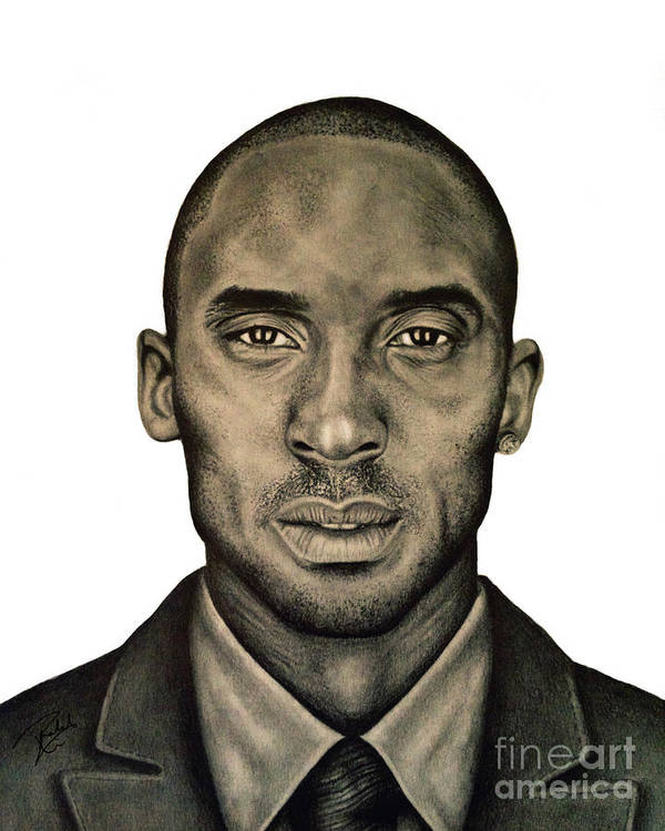 Kobe Art Print featuring the drawing Kobe Bryant Black And White Print by Rabab Ali