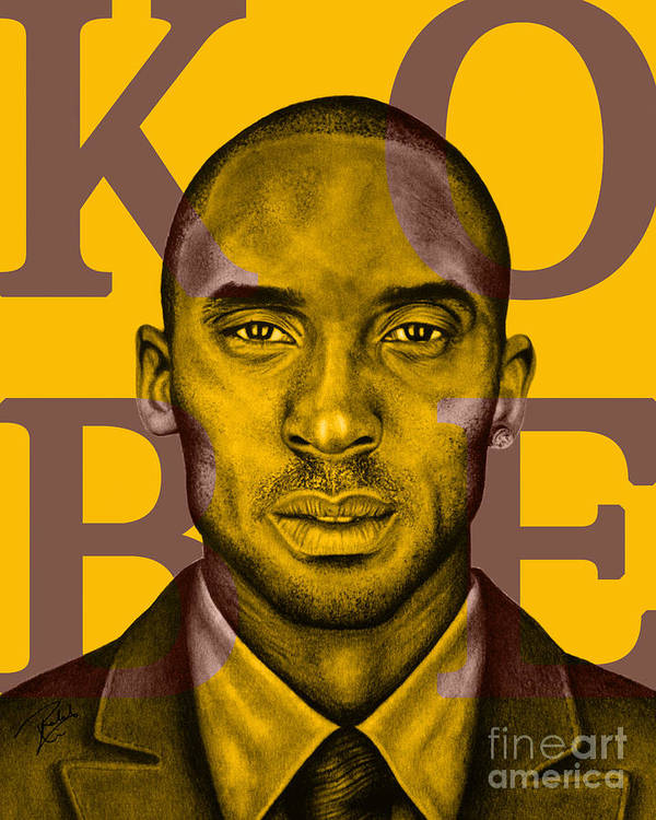 Kobe Print featuring the drawing Kobe Bryant Lakers' Gold by Rabab Ali