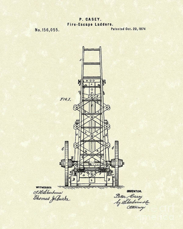 Casey Art Print featuring the drawing Ladders 1874 Patent Art by Prior Art Design
