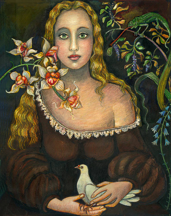 Figurative Art Print featuring the painting Lady With Dove by Vera Zales