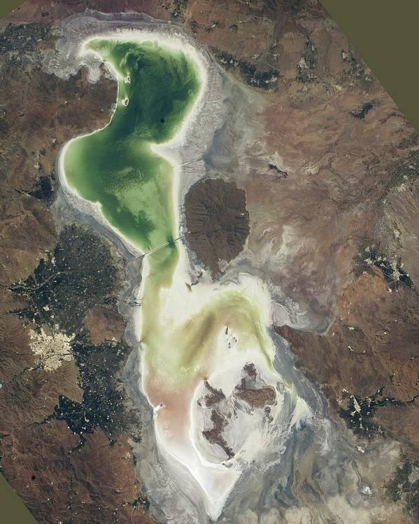 Lake Urmia Art Print featuring the photograph Lake Urmia by Nasa/johnson Space Center
