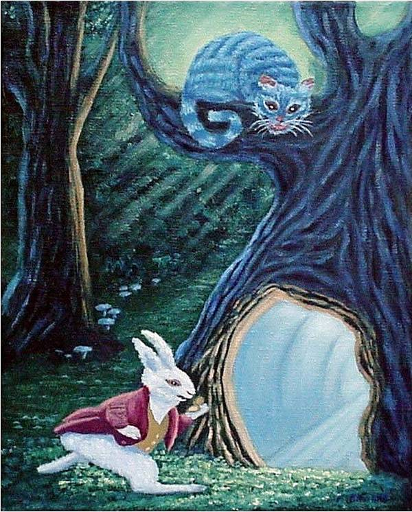 Rabbit Art Print featuring the painting Late Again by Fran Brooks