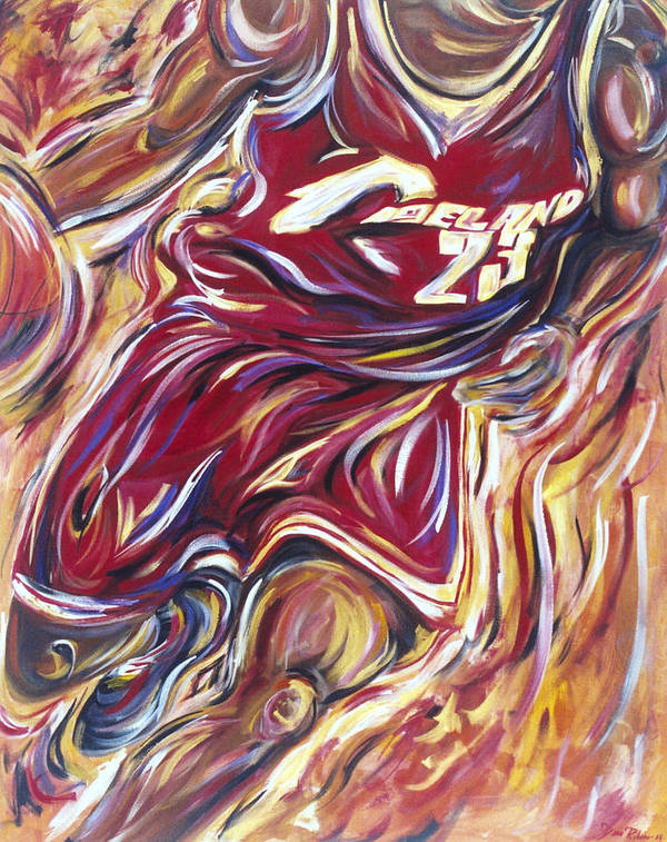 Basketball Art Print featuring the painting Lebron Guess Who Series by Redlime Art