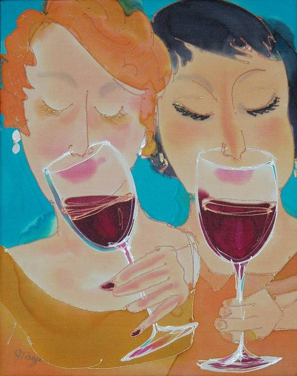 Wine Art Print featuring the painting Let's Get Together by Jill Targer