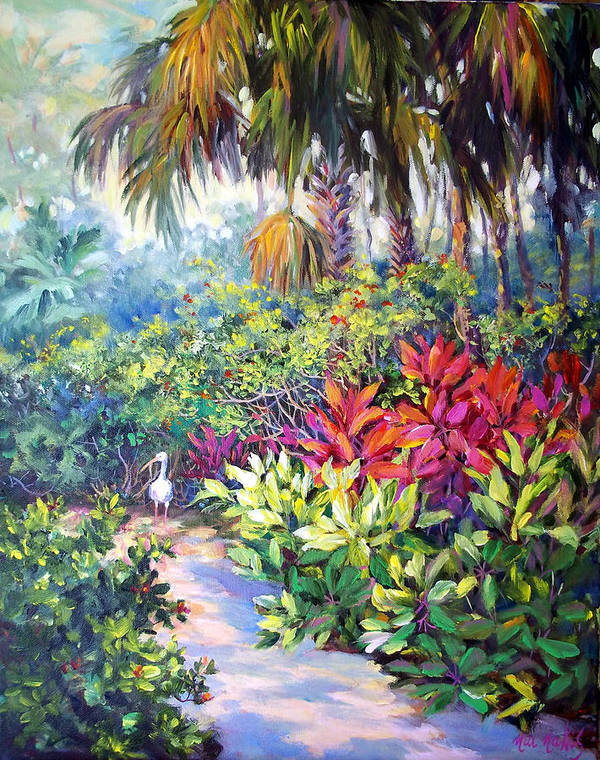 Tropical Art Print featuring the painting Little Ibis Bonnet House by Nia Nakis