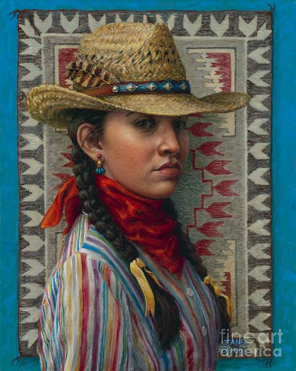 Woman Print featuring the painting Little Rising Hawk by Jane Bucci