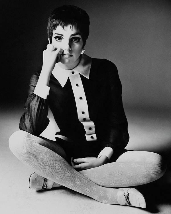 Personality Art Print featuring the photograph Liza Minnelli Wearing A Joan Arkin Dress by Bert Stern