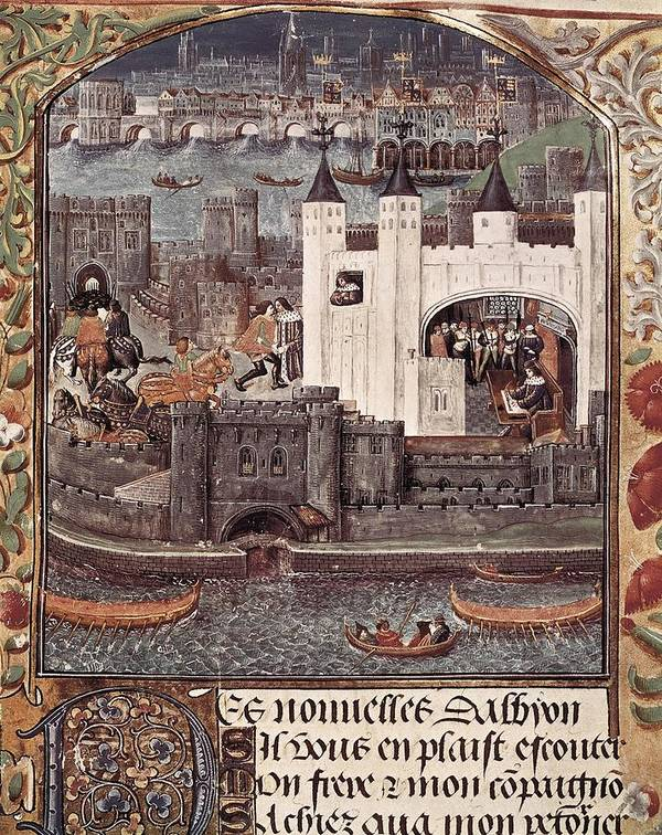 Horizontal Art Print featuring the photograph London And The Thames 15th C.. Gothic by Everett