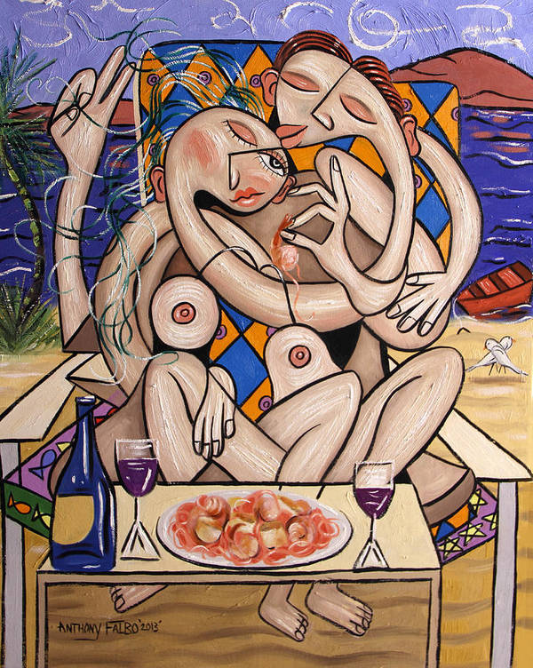Love On A Deserted Island Shrimp Scallops And Linguine Art Print featuring the painting Love On A Deserted Island Shrimp Scallops And Linguine by Anthony Falbo