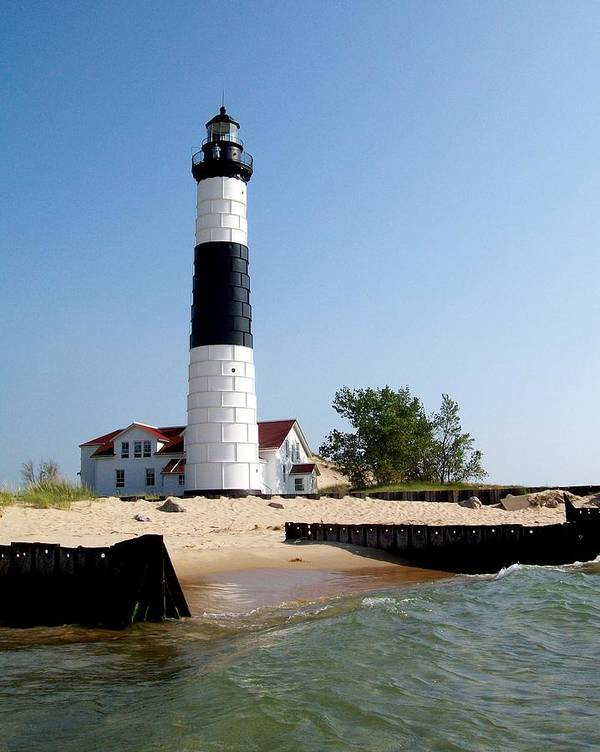 Lighthouse Art Print featuring the photograph Ludington Michigan's Big Sable Lighthouse by Michelle Calkins