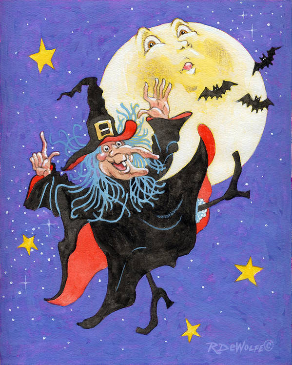 Halloween Art Print featuring the painting Mad Millie Moon Dance by Richard De Wolfe