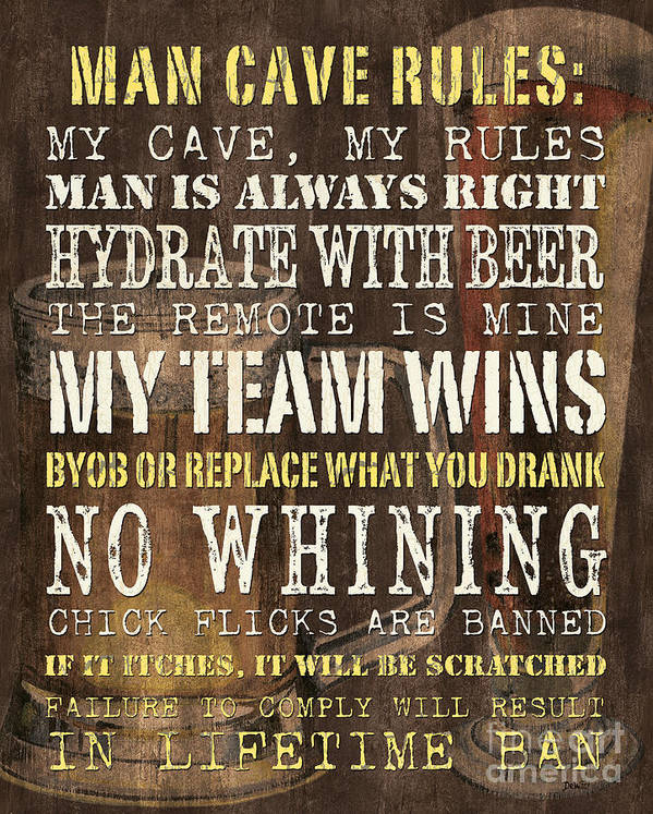 Man Art Print featuring the painting Man Cave Rules 2 by Debbie DeWitt