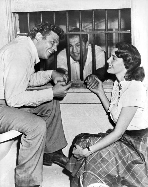 1957 Art Print featuring the photograph Marciano In A Movie Jail Set by Underwood Archives
