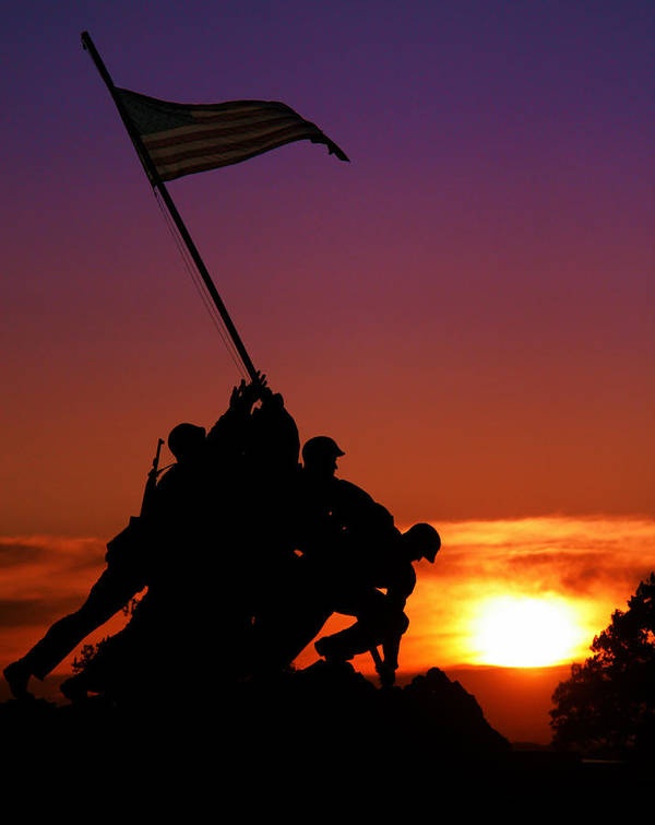 Marine Corps Memorial Art Print featuring the photograph Marine Corps Memorial by Mitch Cat
