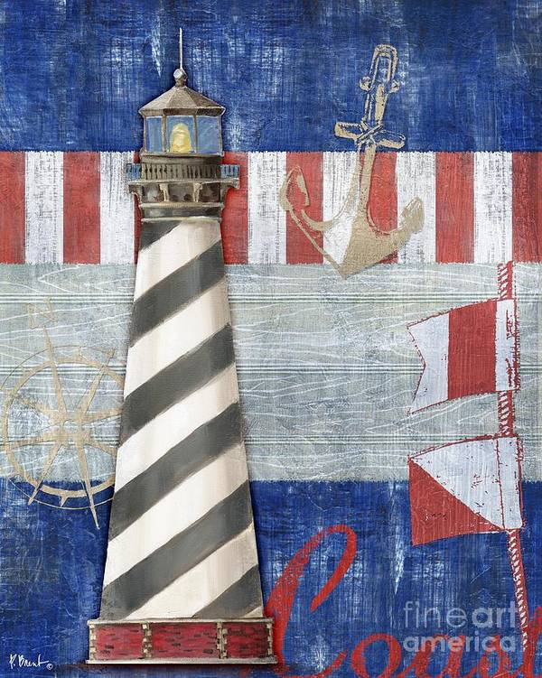 Nautical Art Print featuring the painting Maritime Lighthouse II by Paul Brent