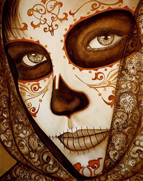 Dia De Los Muertos Art Print featuring the painting Mi Amor Detras Del Velo by Al Molina