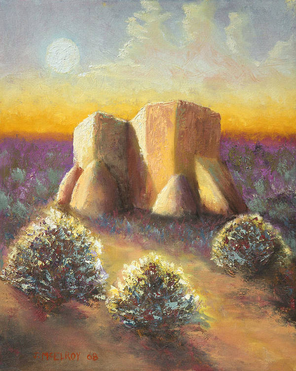 Landscape Art Print featuring the painting Mission Imagined by Jerry McElroy