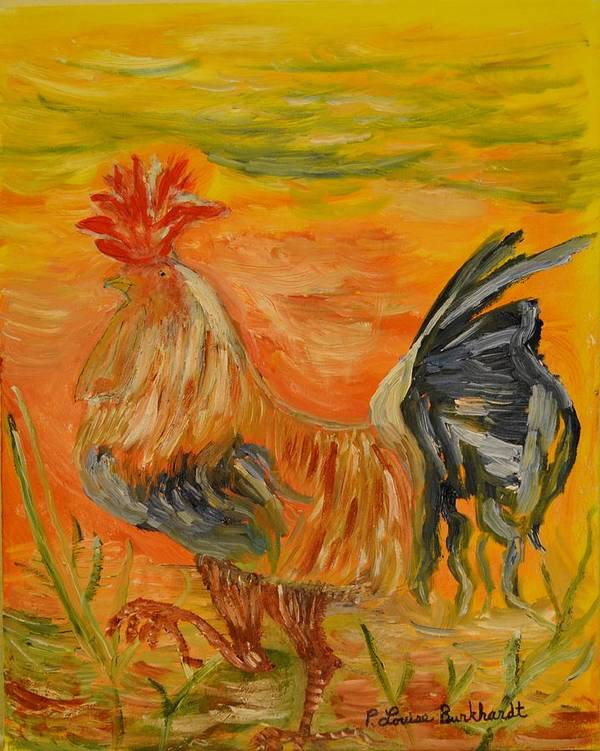 Chicken Art Print featuring the painting Morning Stroll by Louise Burkhardt