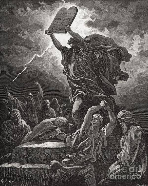 Tables Art Print featuring the painting Moses Breaking The Tablets Of The Law by Gustave Dore