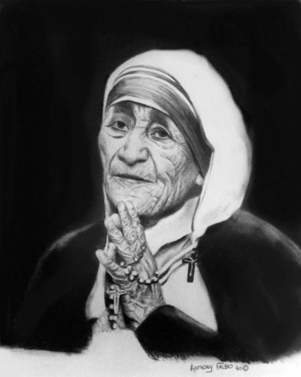 Mother Teresa Art Print featuring the painting Mother Teresa by Anthony Falbo