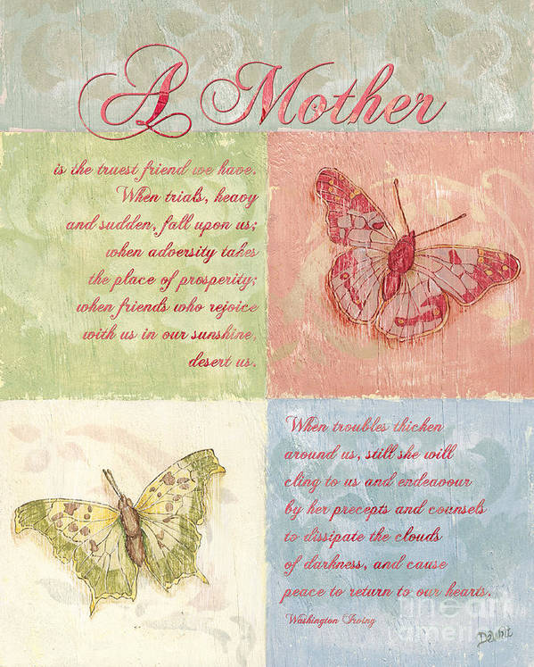 Butterfly Art Print featuring the painting Mother's Day Butterfly Card by Debbie DeWitt