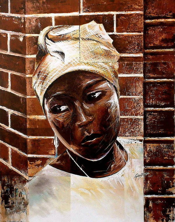 African Art Print featuring the painting Mother's Indecision by Laurend Doumba