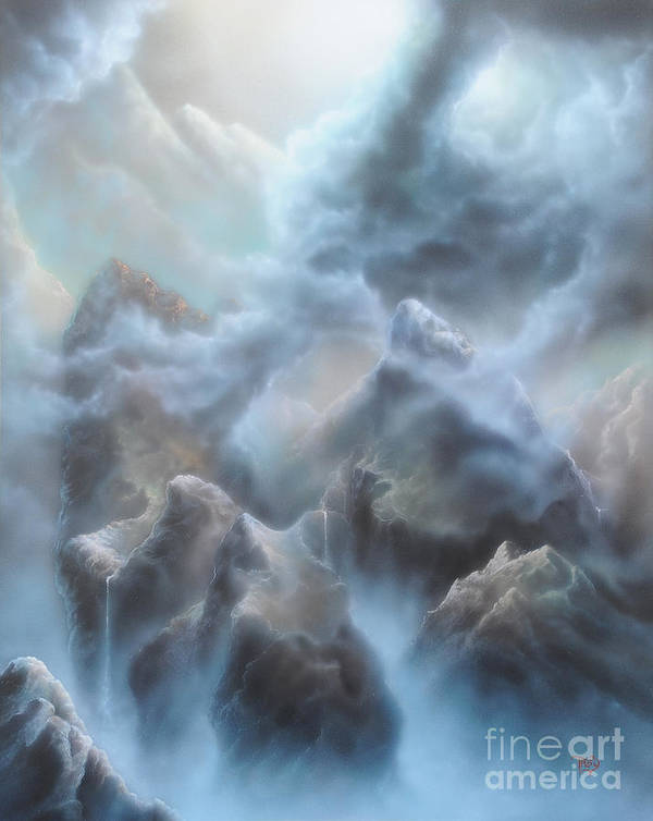 Mountains Art Print featuring the painting Mystic Chasm by Troy Wilfong
