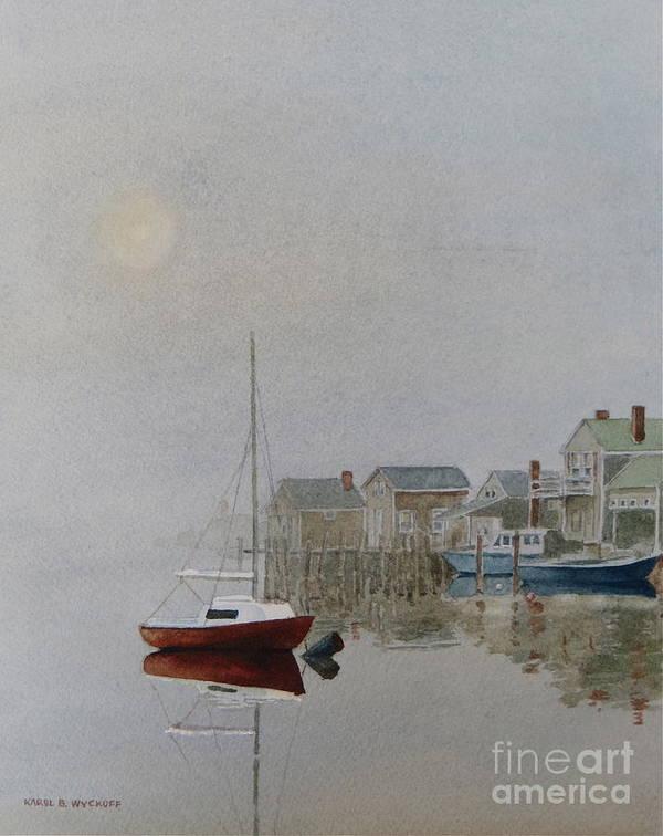 Dock Art Print featuring the painting Nantucket Fog by Karol Wyckoff