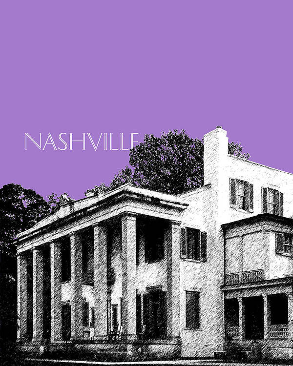 Architecture Art Print featuring the digital art Nashville Skyline Belle Meade Plantation - Violet by DB Artist