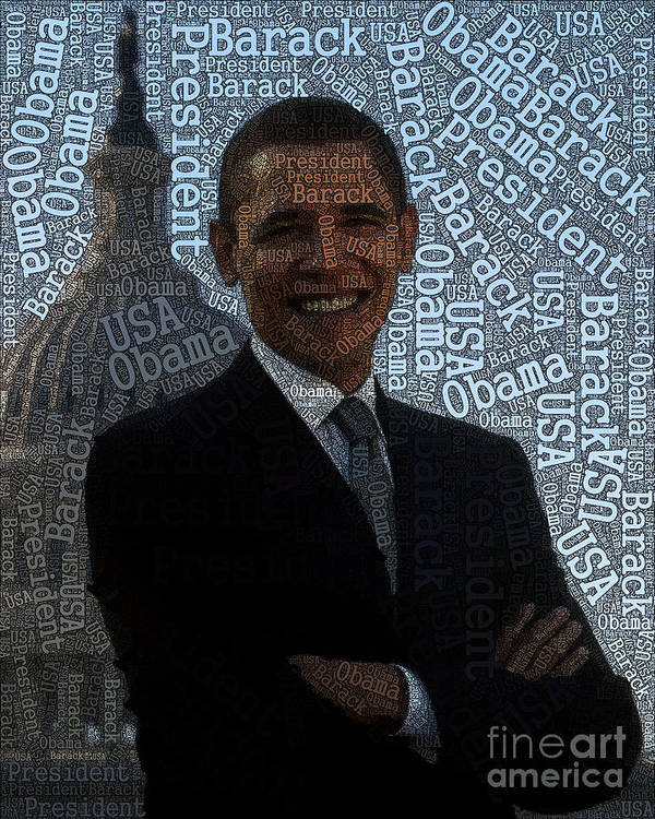 Obama Art Print featuring the painting Obama Typography Design by Boon Mee
