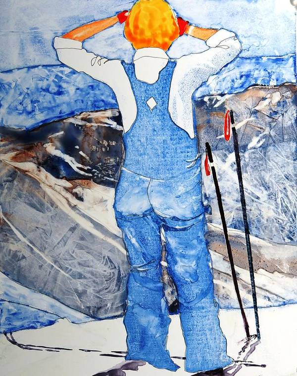Skis Art Print featuring the painting Oh Say Can You Ski by Elizabeth Carr