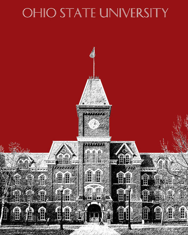 University Art Print featuring the digital art Ohio State University - Dark Red by DB Artist