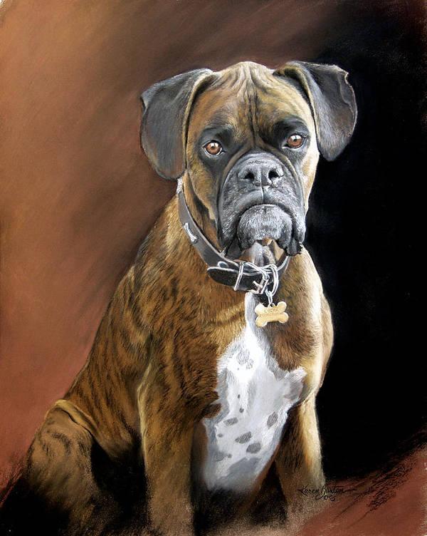 Boxer Art Print featuring the painting Oscar by Artist Karen Barton