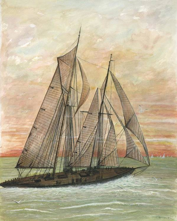 Sailboat; Ocean; Sunset Art Print featuring the painting Out To Sea by Ben Kiger