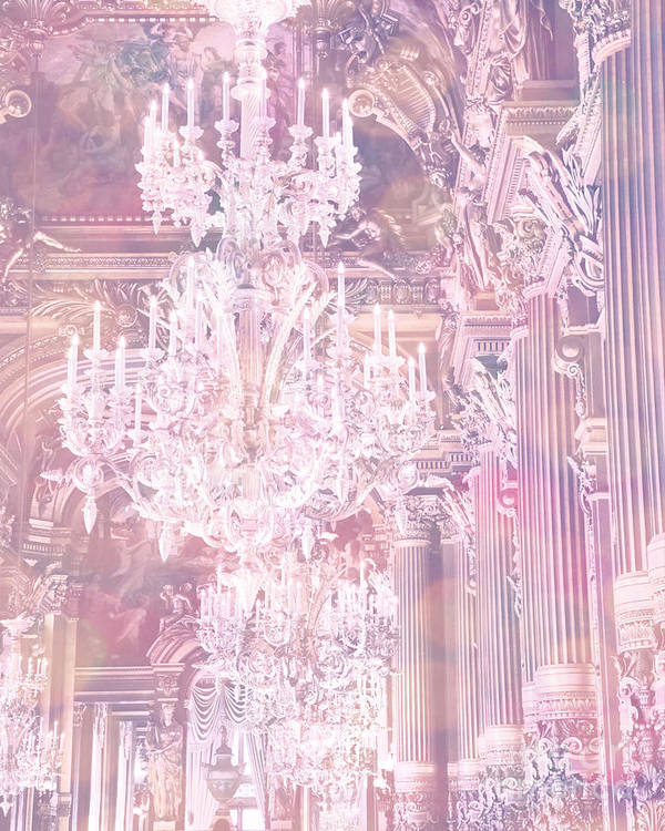 Paris Pink Chandeliers Art Print featuring the photograph Paris Dreamy Ethereal Chandelier Opera House - Paris Lavender Pink Dreamy Chandelier Opera House by Kathy Fornal
