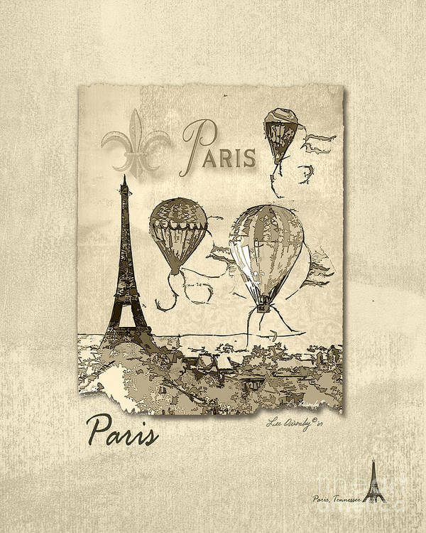Eiffel Tower Art Print featuring the mixed media Paris In Sepia by Lee Owenby