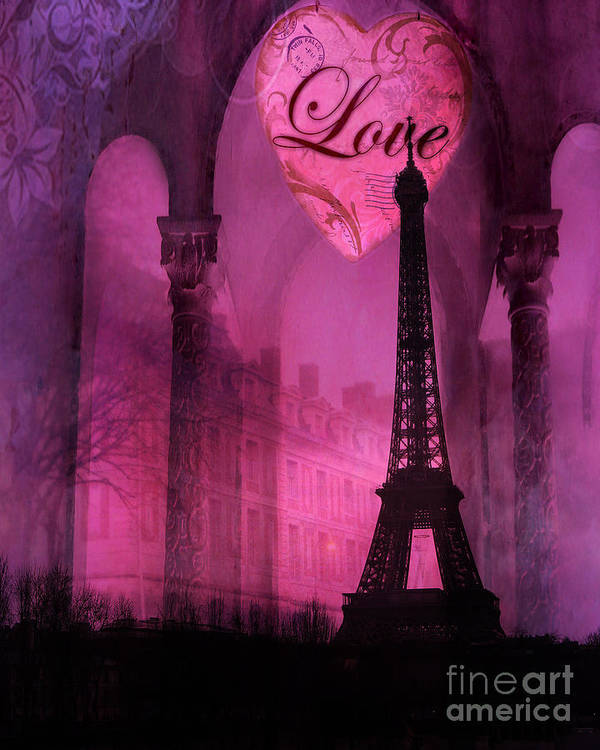 Paris Romantic Pink Fantasy Love Heart Paris Eiffel Tower Valentine Love Heart Print Home Decor Art Print